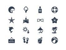 De zomer en beatch pictogrammen Stock Afbeeldingen