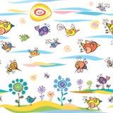 De zomer en de lentepatroon met vogels en bijen Royalty-vrije Stock Foto's