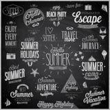 De zomer en Reis geplaatst - etiketten en emblemen - Bord Royalty-vrije Stock Afbeeldingen