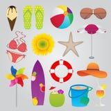 De zomer en Reis Geplaatste Pictogrammen Royalty-vrije Stock Afbeeldingen