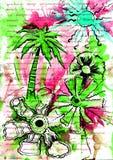 De zomer en rust en overzees en palm en bomen Stock Afbeeldingen