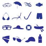 De zomer en strandpictogram vastgestelde eps10 vector illustratie