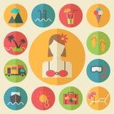 De zomer en vakantie geplaatste pictogrammen, vlakke ontwerpvector Stock Afbeeldingen
