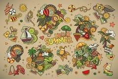 De zomer en vakantiesymbolen en voorwerpen Stock Afbeeldingen