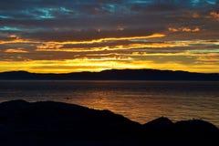 De zomer eveninig op de kust van Trondheim Royalty-vrije Stock Afbeelding