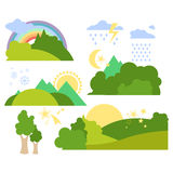 De zomer Forest Flat Background Vector Set Royalty-vrije Stock Fotografie