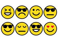 De zomer gele smileys in zonnebril, emoticons positief, neutraal en negatief pictogram Vector illustratie stock illustratie