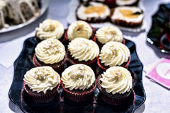 De Zomer heerlijke kleurrijke desserts van chocoladecupcakes Stock Foto's