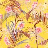 De zomer helder Retro tropisch wild bos met palmen, bloem vector illustratie