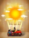 De zomer heldere zon met wolken en toeristenzak Royalty-vrije Stock Afbeelding