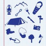 De zomer het kamperen pictogrammen Stock Afbeeldingen