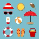 De zomer het Ontspannen Geplaatste Pictogrammen Stock Foto