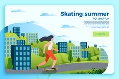 De zomer het schaatsen bannermalplaatje, meisje op een vleet vector illustratie