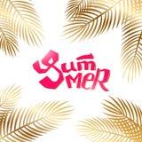 De zomer het van letters voorzien met gouden palm Stock Afbeelding