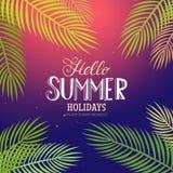De zomer het van letters voorzien met palm Royalty-vrije Stock Afbeeldingen