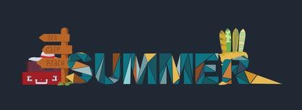 De zomer het van letters voorzien op donkere achtergrond, gewijd aan vakantie, holi Stock Fotografie