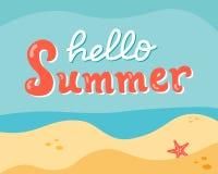 De zomer het van letters voorzien op het strand Stock Afbeelding