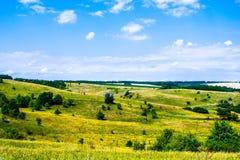 De zomer heuvelig terrein stock foto's