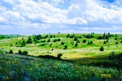 De zomer heuvelig terrein royalty-vrije stock afbeeldingen