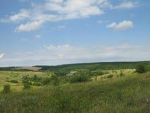 De zomer heuvelig terrein stock afbeeldingen