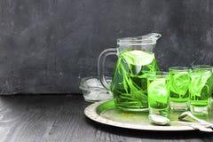 De zomer koude groene drank met dragon, munt en citroen in glaskaraf en kleine schoten met ijs, in nadruk in nadruk royalty-vrije stock afbeelding