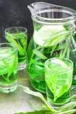 De zomer koude groene drank met dragon, munt en citroen in glaskaraf en kleine schoten met ijs, in nadruk in nadruk stock afbeeldingen