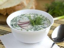 De zomer koude groentesoep op yoghurt Royalty-vrije Stock Afbeelding