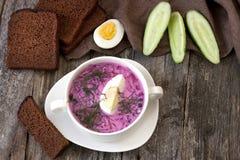 De zomer koude soep met biet, komkommer, kefir en ei Stock Afbeelding