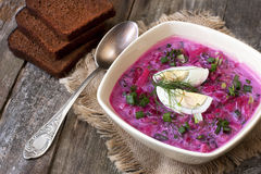 De zomer koude soep met biet, komkommer, kefir en ei Stock Foto's