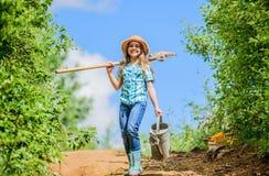 De zomer de landbouw landbouwersmeisje tuin, schop en gieter zonnige openlucht van de jong geitjearbeider Familie het plakken De  royalty-vrije stock foto's