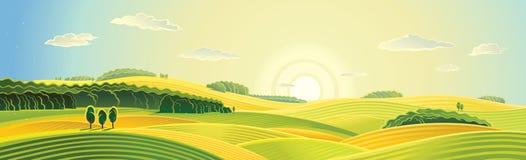 De zomer landelijk landschap royalty-vrije illustratie