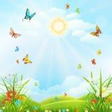 De zomer of de lentelandschap stock illustratie