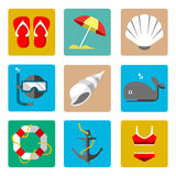 De zomer mariene pictogrammen Royalty-vrije Stock Foto's
