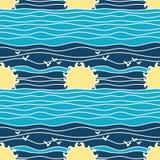 De zomer Marine Seamless Pattern Royalty-vrije Stock Afbeeldingen