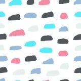 De zomer Naadloos patroon met abstract ornament Kleurrijke inkt Droge borstel Alleen bevroren boom Hand Getrokken Achtergrond royalty-vrije illustratie