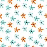 De zomer naadloos patroon met blauwe en oranje bloemen Bloemenbeeldverhaaldruk royalty-vrije illustratie