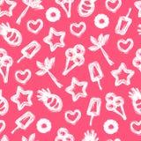 De zomer naadloos patroon met hand-drawn element Stock Afbeelding