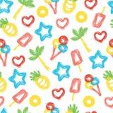 De zomer naadloos patroon met hand-drawn elementen Stock Afbeelding