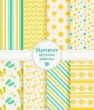 De zomer naadloze patronen Naadloze bloemenachtergrond Stock Fotografie
