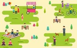 De zomer openbaar park met actieve mensen, familievakantie, gang met hond, ritfietsen royalty-vrije illustratie