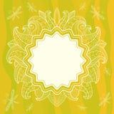 De zomer openwork kader met bloemen, bladeren en dra vector illustratie