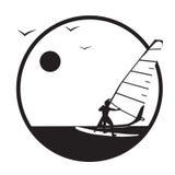 De zomer, overzees, het windsurfing. Vector. Stock Foto