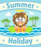 De zomer overzeese achtergrond met leeuw stock illustratie