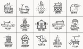 De zomer Overzeese Toevluchtpictogrammen en Emblemen vector illustratie