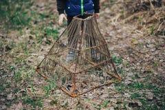 De zomer, platteland, vijver strik voor vissen, het handwerk Uitstekende stijl stock afbeelding