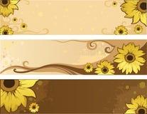 De zomer positieve banners van de zonnebloem Stock Foto's