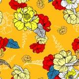 De zomer retro Bloemenpatroon in vector botanisch in de tekening van de lijnhand, Naadloze vectortextuur voor manierstof op helde stock illustratie