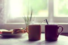 De zomer retro ontbijt Stock Afbeeldingen