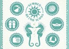 De zomer retro pictogrammen royalty-vrije illustratie