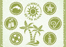De zomer retro pictogrammen vector illustratie